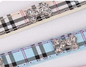 New Crystal Bone Small Dog Necklace Collar Rhinestone Bling White Pink Plaid