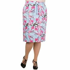 NEW PLUS SIZE BLUE CHERRY BLOSSOM VINTAGE PENCIL SKIRT RETRO 22 BANNED STRETCH