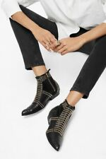 ANINE BING Charlie Gold Studded Black Leather Ankle Zip Boot- Size 37