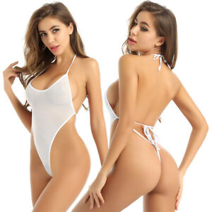 Sexy Women's Halter Neck Sheer Mesh Sleeveless Leotard Thongs Bodysuit Swimwear
