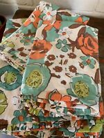 Sferra 1891 Palm Beach Posey Duvet & 2 Shams Turquoise Orange Floral QUEEN Set/3