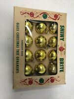 EUC Shiny Brite Vintage 12 Gold Bulbs Original Box 1.75""