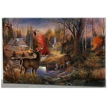Illuminated Light Up HOUSE WITH DEERS LED CANVAS Picture Wall Art 60cm x 40cm