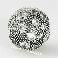 Authentic Pandora Charm 791286 Silver S925 ALE Cosmic Stars Clear Clip