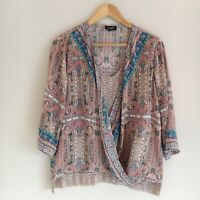 Tolani Womens Size Small Multi Color Paisley Faux Wrap Silk Blouse