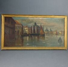 Vintage 1923 Signed Italian Oil on Canvas Painting of Venice