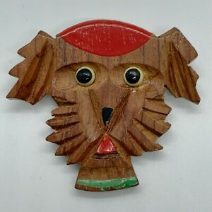 Vintage Wood Carved Hand Painted Dog Brooch