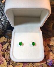 Sweet certified natural Green Tsavorite Garnet 5mm facet silver stud earrings 💚