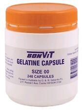 3 units x  Empty Bonvit Gelatine Capsules Size ' 00 ' 240 Caps (720 Total)