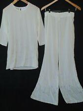 NWT Hanro Switzerland Pajama Lounge Top Pant Embroidery Sheer Lingerie XS VTG
