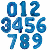 """Large Blue Numeral 34"""" Balloons - Choose From 0-9 - Foil Jumbo Birthday Age"""
