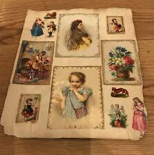 Victorian Trade Cards Old Album Page Lot, Odd Weird Baby Women Animals Fashion