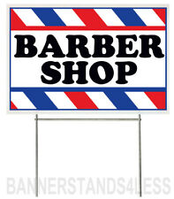 18x12 Inch Barber Shop Yard Sign With Stake Wb1s