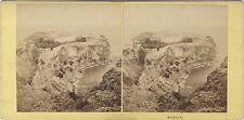Monaco Panorama du Rocher Stéréo Aleo & Davanne Vintage Albumine ca 1860