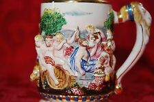 Capodimonte N Mark Italy Mid Century Cherub Putti Goat Wine Figural Stein Mug