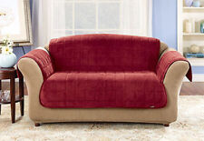 Sure Fit Deluxe Loveseat Furniture Cover Pet Cover Burgundy Large Square Pattern