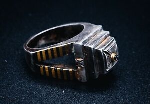 Jeweled Silver And Gold Knight's Templar Ring Artifact