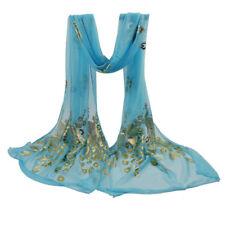 Women Sky Blue Peacock Flower Scarves Long Soft Wrap Shawl Stole Pashmina Scarf
