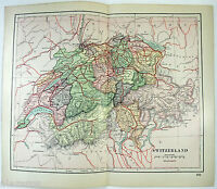 Original 1895 Map of Switzerland by Dodd Mead & Company. Antique