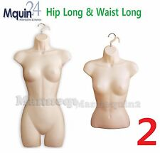 Set Of Hip Long + Waist Long Females, Woman Dress & Torso Mannequin Dress Forms