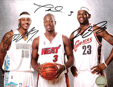 LeBron James, Dwyane Wade, & Carmelo Anthony  8 x10 Reprint Signed Photo.