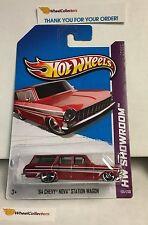 '64 Chevy Nova Station Wagon #195 * RED * 2013  Hot Wheels * Z38