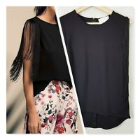 [ WITCHERY First Edition ] Womens Black Fringe Top  | Size XS or AU 8 / US 4