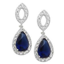 Pendientes de plata esterlina, circonia cúbica Pera Cortada Azul zafiro HALO STUD pendientes de gota