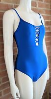 La Blanca Swimwear Blue Deep V-Neck Lattice One Piece Swimsuit MSRP $119 Sz 4