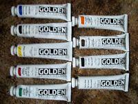 Golden Heavy-body Acrylic Paint 9 - 2 ounce Tubes Lot 5