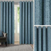 Blue Eyelet Curtains Metallic Jacquard Ready Made Lined Ring Top Curtain Pairs