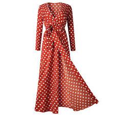 Fashion Women Boho Long Maxi Dress Polka Dot Summer Party Evening Beach Sundress
