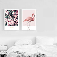 Flamingo Flower Canvas Poster Wall Art Print Nordic Style Modern Home Room Decor