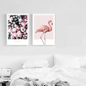 Flamingo Flower Canvas Poster Wall Art Print Nordic Style Home Decor 30x42cm