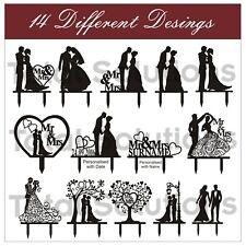 Mr & Mrs Wedding Cake Topper Decoration - Bride and Groom - Black Silhouette