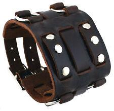 Nemesis WB-BB Wide Dark Brown Leather Tri Clasp Cuff Wrist Watch Band
