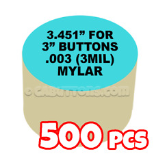 "3"" Tecre Mylars Clear Plastic Cover for Button Maker Badge Machine Press 500 pcs"