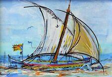 Tableau, peinture, original, France, voile - barque catalane, Colioure