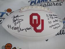 Jamelle Holieway signed Oklahoma OU Sooners logo football w/ career stats COA