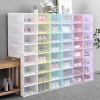 Foldable Stackable Plastic Drawer Case Organizer Holder Shoe Box Clear Storage