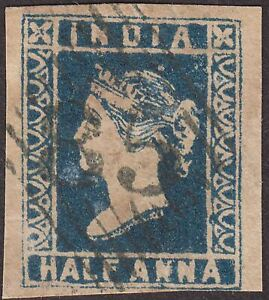 India 1854 QV ½a Deep Blue Die III Used SG10 cat £150 with four margins