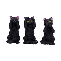 Set Of 3 Wise Cats Figurine Cat Ornaments See Hear Speak No Evil Analect Decor