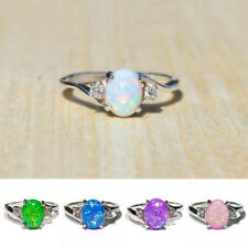 Gorgeous Wedding Rings for Women 925 Silver Jewelry Oval Cut Opal Size 6-10