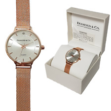 Ladies Watch,Real Diamond Set,Silver Dial On Rose Gold Mesh Strap.Diamond & Co