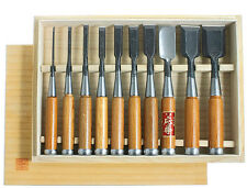 Oire Nomi Japanese Bench Chisel Set Carpenters Chisels 10pc Set in Wooden Box