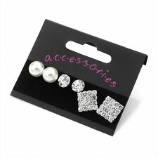 Ladies Three Pairs Silver & Pearl Colour Crystal Earring Set Size Assorted Sizes