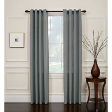 2PC SILVER GRAY  SOLID GROMMET FOAM LINED BLACK OUT PRIVACY WINDOW CURTAIN SILK
