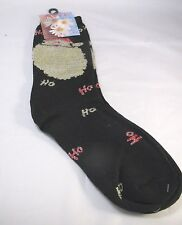 Christmas Santa Black Crew Socks Womens 9-11 Ho Ho Ho Sparkle Holiday Festive
