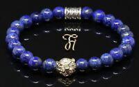 Lapislazuli blau - goldfarbener Tigerkopf - Armband Bracelet Perlenarmband 8mm