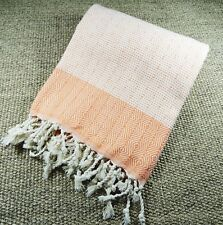 Turkish Hammam Nefes Peshtemal, Beach Towel Peach&White 100x180cm 100% Cotton
